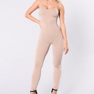 Fashion Nova Season Jumpsuit Khaki Nude Stretch S